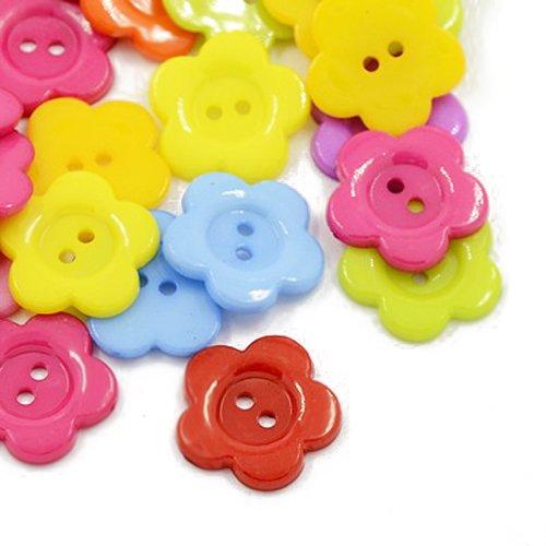 Acrylique Boutons Mixte-Couleur Fleur 16mm 2-Trou Paquet De 50+