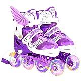 Pattini illuminati per bambini con ruote luminose, pattini a rotelle per esterni e interni, per ragazzi e ragazze, lunghezza regolabile
