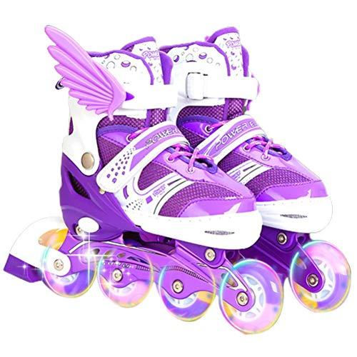 DelaspeIlluminating Inline Skates Kinder Rollschuhe verstellbar mit Leuchtrollen für Außen und Innen