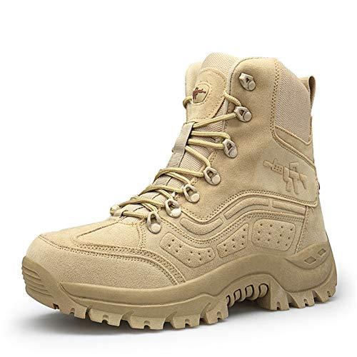 WOJIAO Botas de Cuero para Hombres Fuerzas Especiales Táctico Desierto Combate Zapatos Negros Zapatillas de Deporte para Caminar