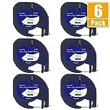 Bkinsety 6Pack Cintas de Etiquetas Compatible para Usar en Lugar de Dymo Letratag 91201para LT-100H LT-100T QX50 12mm x 4m (Negro sobre Blanco)