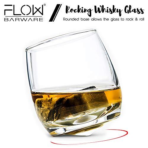 Flow Barware Deluxe Whiskygläser und Whiskysteine, in Geschenkbox aus Holz, italienisches Vintage-Kristallglas für Scotch, Bourbon, Gin & Tonic sowie Cocktails - 7