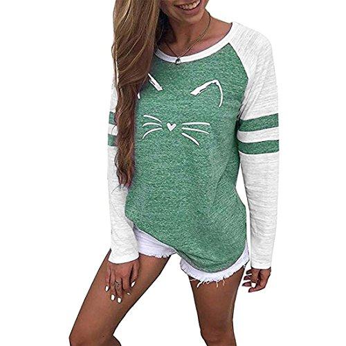 MORCHAN Femmes Dames Chat Impression T-Shirt à Manches Longues Tops Blouse(Vert,FR-36/CN-S)