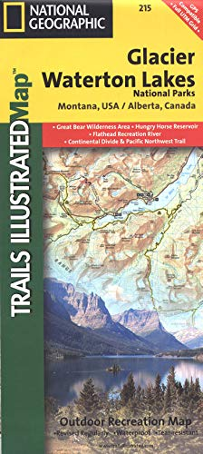 Glacier and Waterton Lakes National Parks (National Geographic Trails Illustrated Map, 215)
