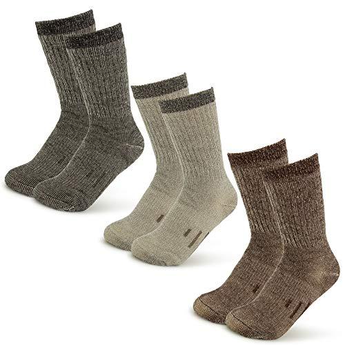 3 Pairs Thermal 80% Merino Wool Socks Thermal Hiking Crew Winter Mens Womens Kids, Black/Brown/Grey, Small (Child's 1-3.5, Women's 3-5.5)