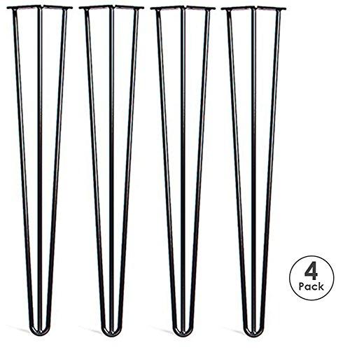 Locisne 28 \Three-Rod horquilla Metal de las patas de la mesa,Acero Fundido Negro 9mm,Paquete de 4,Estilo Moderno,Comedor,Muebles,Accesorios para Los Muebles de Madera,cafe,comedor(28\ 3 rod)