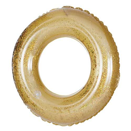 Jumboring Glamour Gold 105 cm groß XXL Schwimmring Wasserring Schwimmen Luftmatratze Wasser Schwimmreifen Wasserspielzeug Sitz Pool aufblasbar Wasserspass Badeinsel Aufblastier Ring Reittier