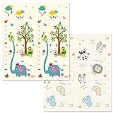Alician Alfombra de juego para bebé de dibujos animados, doble cara, gruesa, para rastrar, 180 cm x 160 cm x 1,0 cm, diseño de elefante y paraíso de animales