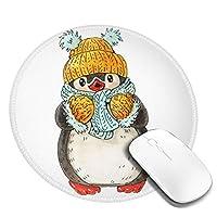 マウスパッド円形おしゃれ マウスパッド 円型 ペンギン 水彩画 冬 キュート クリスマス ゲーミングマウスパッド ゴム底 光学マウス対応 滑り止め 耐久性が良い おしゃれ かわいい 防水 オフィス最適 適度な表面摩擦 直径:20cm
