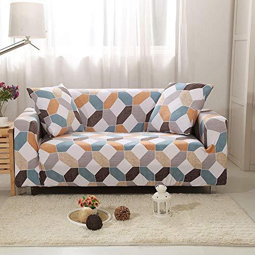 Funda Sofa 1 Plaza Color A Cuadros Fundas para Sofa con Diseño Elegante Universal,Cubre Sofa Ajustables,Fundas Sofa Elasticas,Funda de Sofa Chaise Longue,Protector Cubierta para Sofá