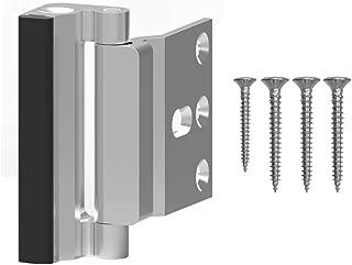 CCJH Home Security Childproof Door Reinforcement Lock with 4 Screws Upgrade Stop Withstand 800 lbs for Inward Swinging Door to Defend Your Home (Silver-1PCS)