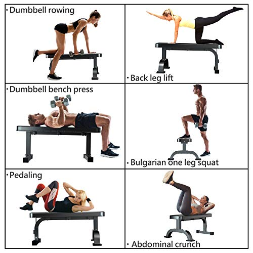 Murtisol Multifunctional Flat Weight Bench for Weight Training and Abdominal Exercise,Workout Excercise Fitness Bench,45.67''25.2''16.34'',Model 1212,Black