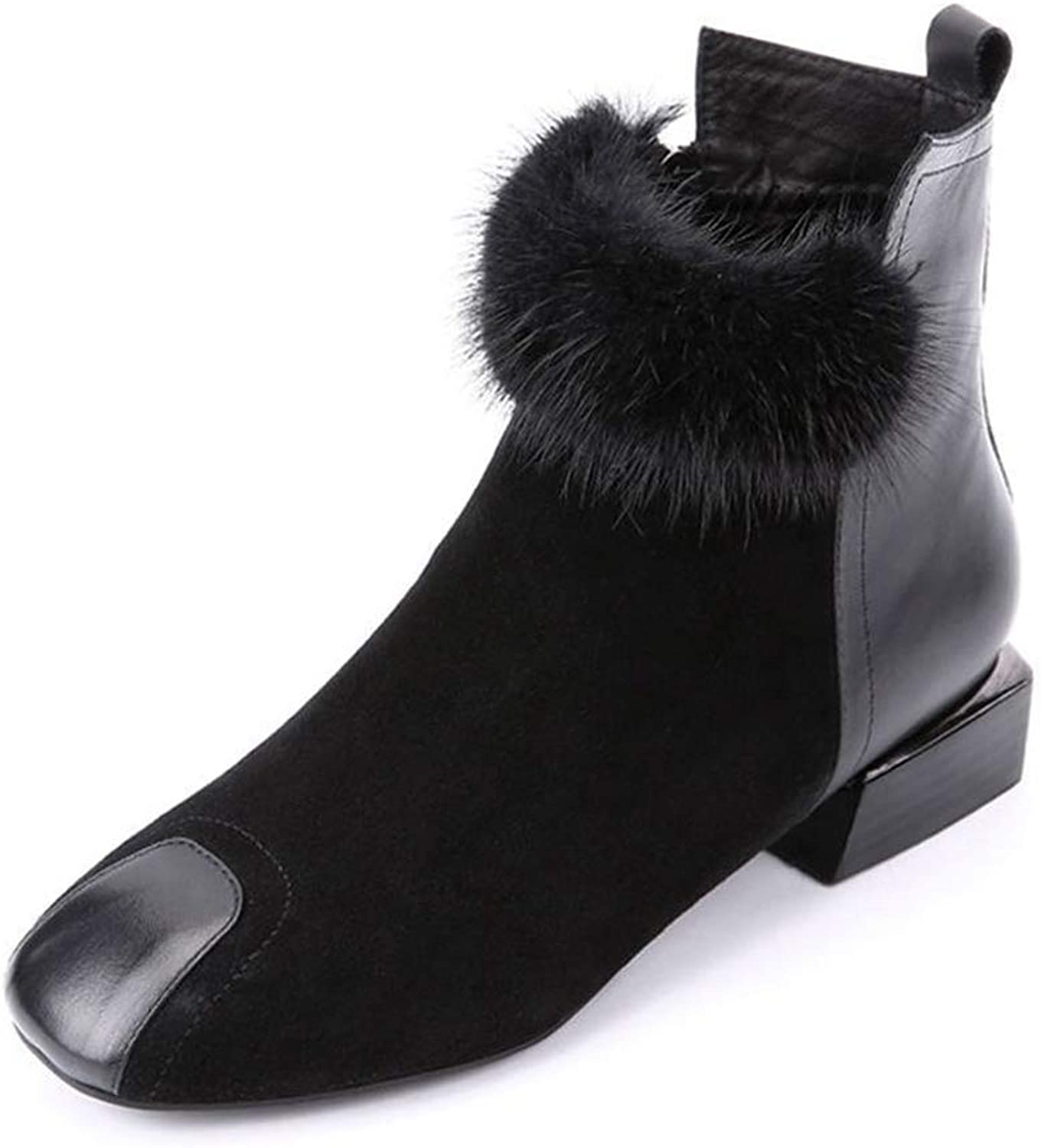 York Zhu Women Fur Boots,Ankle Boots Square Toe Motorcycle Boots Winter Martin Boots