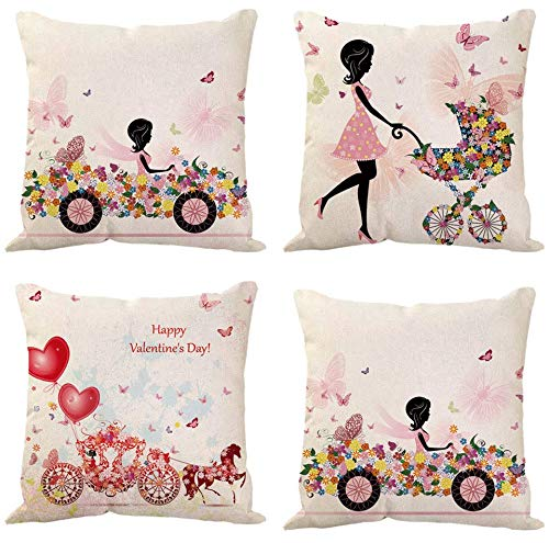 JgZATOA Flower Car Girl PillowCoversPillowCaseCoverCushionHomeBedroomSofaCushionCoverCarDecor45X45CmSetOf4