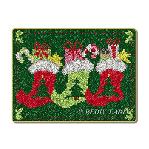 Kits de hilo de ganchillo de bricolaje, kit de gancho de pestillo de costura, alfombra de ganchillo sin terminar, cojín de hilo, juego de alfombras bordadas (Botas de navidad,52 x 38 cm)