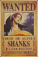 海賊アニメSHANKSシャンクス さびた錫のサインヴィンテージアルミニウムプラークアートポスター装飾面白い鉄の絵の個性安全標識警告バースクールカフェガレージの寝室に適しています