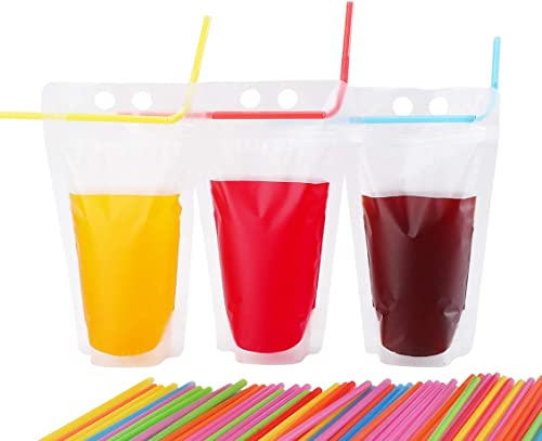 lowest Drink Pouches with Straws - Clear Freezable Juice Bags (40 Pieces) online (9.06 Inches outlet sale x 5.11 Inches, 500 ml) outlet sale