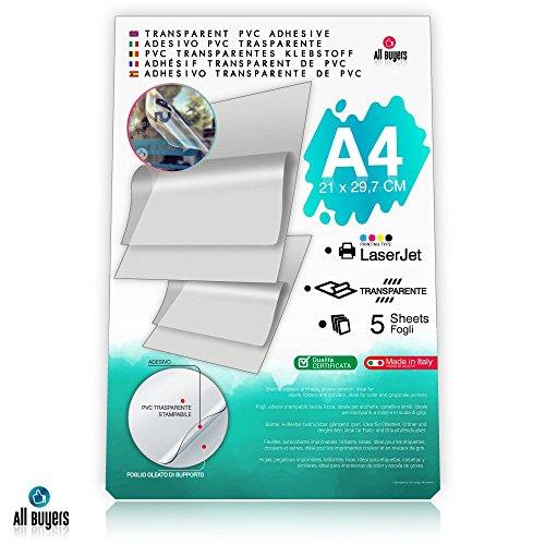 Carta Adesiva PVC Trasparente Lucida A4 Fogli in vinile Polipropilene 5-10-15-20-25 per stampanti laser (5) - 2AINTIMO®