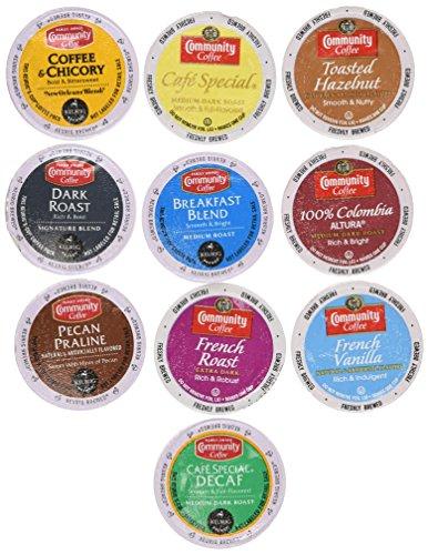 30 Community Coffee Single Serve K-Cup Sampler, 3 Each of 10 Unique Varieties