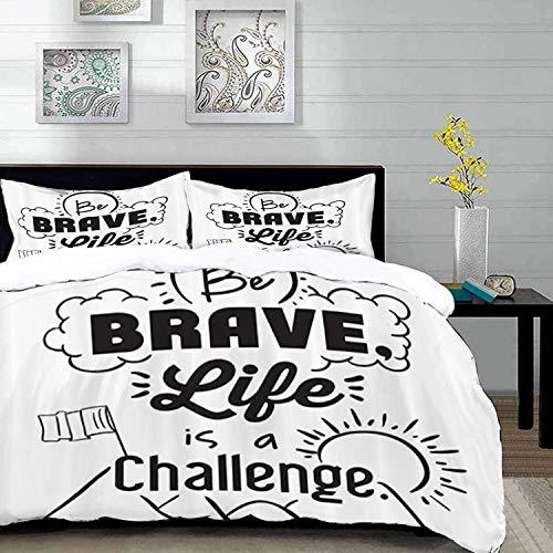 ropa de cama: juego de funda nórdica, conjunto de citas, Be Brave Life is A Challenge Enduring? ncentive Mountain Peak Sunrise Flag, Purple Gr, juego de funda nórdica de microfibra con 2 fundas de alm