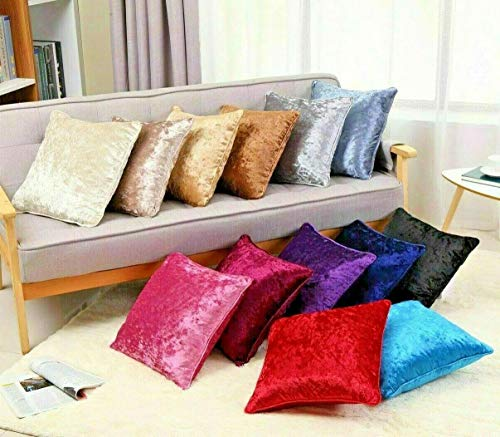 NIGHTS Crushed Velvet Cushion Covers Plain Cushion Covers 18'',24'' (Silver, 24'' X 24'')