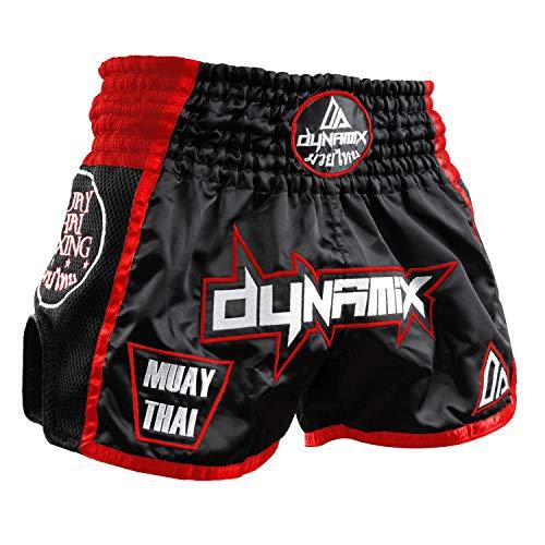 Dynamix Athletics Muay Thai Shorts Warpath Schwarz/Rot - Thaibox Hose für Thaiboxen für Herren mit Air-Tech-Gewebe (M)