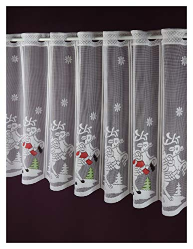 Scheibengardine nach Maß Weihnachtsmann Jacquard Lamellenpanneau Weihnachten Christmas Winterzeit -individuell in der Breite kürzbar- Höhe 50 cm - Breite 15,5 cm Schritten wählbar Weiß Bunt