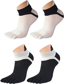 EQLEF Calcetines Cinco Dedos Calcetines de Running para Hombres Calcetines de Yoga para pies Blancos y Negros de Yoga-2 Pares