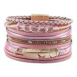 GelConnie Wrap Bracelets for Women Feather Cuff Bracelet Multilayer Bohemian Bracelet Boho Jewelry LPB297-pink