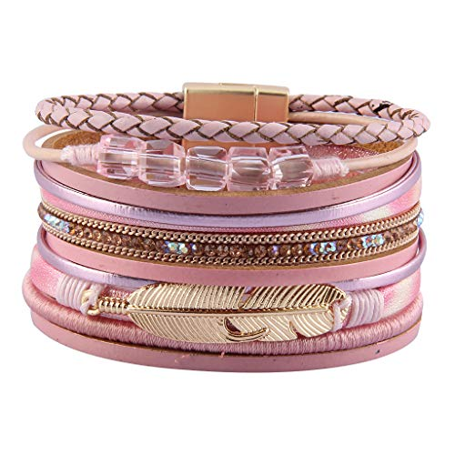 GelConnie Wrap Bracelets for Women Feather Cuff Bracelet Multilayer Bohemian Bracelet Boho...