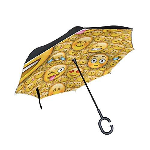 Funny Emoji-Double Layer seitenverkehrt Regenschirm Cars Rückseite Regenschirm Wasserdicht Winddicht groß Gerade Polyester Regenschirm für Sonne und Regen Outdoor mit C-förmigem Henkel
