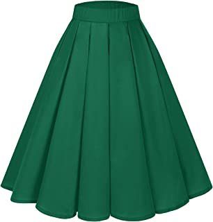 Bridesmay Women's Vintage Pleated Skirt Floral Printed A-line Swing Skirt with Pockets