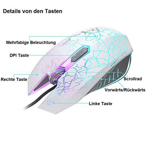 VersionTECH. Gaming Maus Gamer Maus 2400 DPI mit 6 Tasten, LED, USB Maus optisch, Hohe Präzision für PC Laptop, Microsoft Pro, Office Home, Weiß