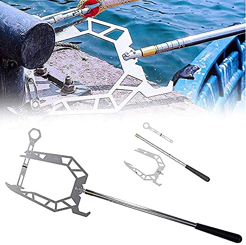 Boat Hook Pole, Easy Long-distance Threader Boat Puller Tie Rope Hook Tool, The Telescoping Easy Long-distance Threader, Multi-purpose Dock Hook for Dock Plate (B)