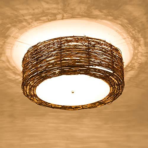 Luckly Plafon de Tech E27 Lámpara de Techo de Dormitorio Vintage Rattan Interior Iluminación para Salón InfantilDormitorio, Acrílico Pantalla, 40CM Lámpara Retro