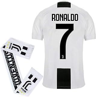#7 Ronaldo Juventus Home 2018-2019 Season Mens Soccer Jersey and Scarf Color White