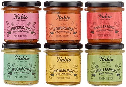 Nabio Brot-Aufstrich Protein Selection, vegan & Bio, eiweissreiche Hülsenfrüchte, wenig Fett, 6er Pack (6 x 140 g)
