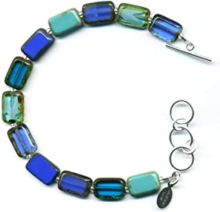 Glass Beaded Bracelet in Turquoise, Teal, Navy, Sapphire, Indigo, Aqua Blue, Colorful Rectangle Tile Beads, Sterling Silver Adjustable Length Toggle Clasp, One Size Fits Most