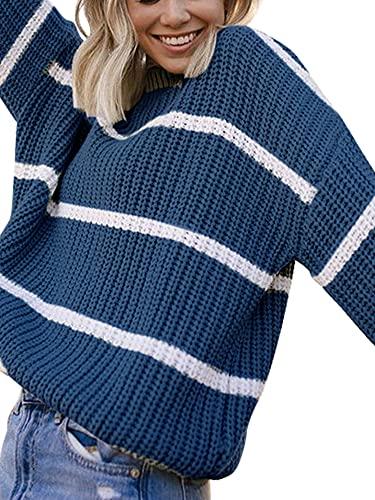 Suéteres de cuello redondo de las mujeres, camisas sueltas del punto del cable de la impresión a rayas ocasionales, azul, M