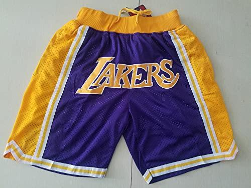 Wo nice Pantalones Cortos De Baloncesto para Hombres, Los Angeles Lakers NBA Summer Fitness Sports Shorts Flow Training Sports Jerseys,Azul,L(175~180CM)