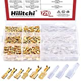 Hilitchi 720Pcs Gold Quick Splice Male and Female Wire Spade Connector Wire Crimp Terminal Block with Insulating Sleeve for Electrical Wiring Car Audio Speaker, 2.8mm 4.8mm 6.3mm Assortment Kit
