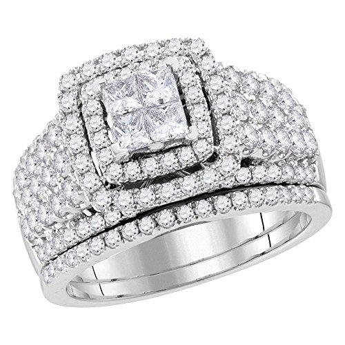 14k White Gold Princess Cut Diamond Bridal Engagement Ring Wedding Band Two Piece Set 2.0 Ct.