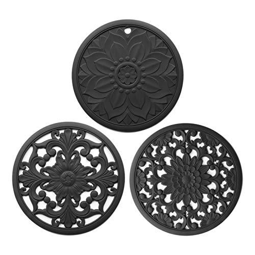 POHOVE 3 alfombrillas de silicona para salvamanteles talladas intrincadamente de silicona, almohadillas calientes para mesa y encimera, posavasos aislados, flexibles, duraderos y antideslizantes.