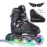 Wheelive Verstellbare Inline-Skates für Kinder, Beleuchtende Rollschuhe für Outdoor und Indoor Performance Inline-Skates mit LED-Vollrädern für Jungen Mädchen Jugendliche Erwachsene Anfänger