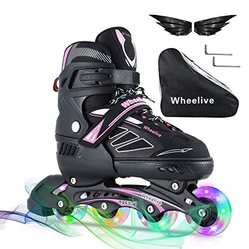 Wheelive Adjustable Inline Skates for Kids, Illuminating Roller Skates...