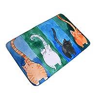 [Freahap] キッチンマット 洗える マット 玄関 屋内 玄関マット 猫柄 バスマット おしゃれ 滑り止め お風呂 カーペット 吸水 猫の爪 猫 室内用 速乾