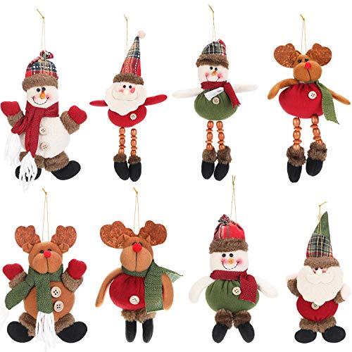 WILLBOND 8 Pezzi Decorazioni per Albero di Natale Ornamenti di Peluche Babbo Natale Pupazzo di Neve Renna Ornamenti Pendenti Natalizi in Peluche per Decorazione Festa di Natale