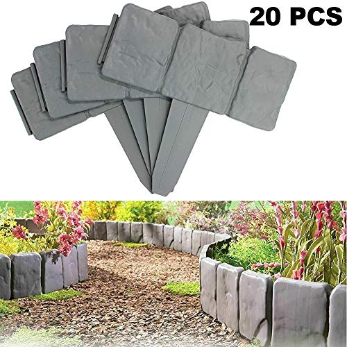 WingFly Lawn Border Edge Stone Effect Lawn Edging Garden Plant Bordering Edging Palisade 2 Color Skirting Border Picket Fence for Flower Bed Grass (Grey,20 Pcs)
