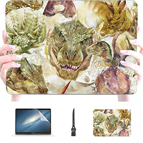 Engree MacBook Pro 13 Inch Case 2015 2014 2013 end 2012 A1502 A1425, Dinosaurs Handdrawn Prehistoric Animals Pattern Hard Shell Case Cover for Old Version Apple Mac Pro Retina 13