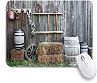 NINEHASA 可愛いマウスパッド 農業西部の木造納屋田舎牧歌的な田舎の家民俗ヴィンテージ風景 ノンスリップゴムバッキングコンピューターマウスパッドノートブックマウスマット